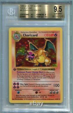 Carte Pokemon Charizard 1ère Édition Shadowless De Base 4/102, Bgs 9,5 Gem Mint