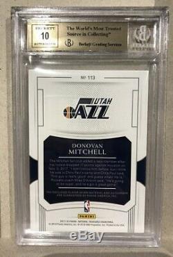 Donovan Mitchell 17-18 Les Tresors Nationaux Rc Patch Auto / 99! Bgs 9.5 Gem Mint