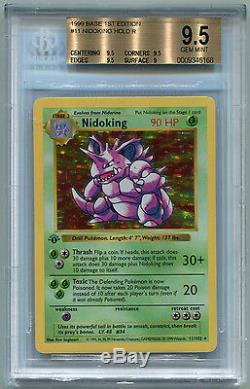 Ensemble De Base Pokemon 1999 Shadowless 1st Edition Nidoking 11/102 Bgs 9.5 Gem Mint