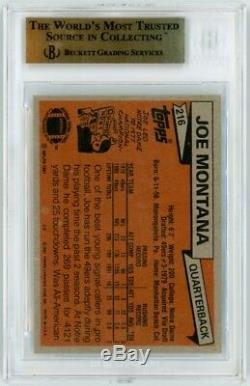 Joe Montana 1981 Topps Football Carte Rookie # 216 Bgs Noté 9,5 Gemme À La Menthe