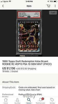 Kobe Bryant 1996-1997 Projet De Rachat Rookie Topps Rc Bgs 9.5 True Gem Mint Subs
