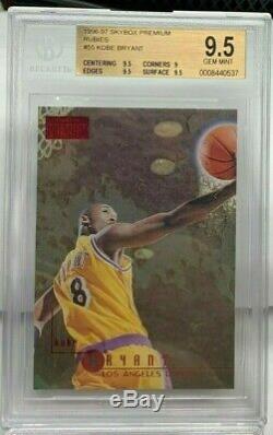 Kobe Bryant 1996-97 Skybox Premium Rc # 55 Rubbies Ruby Bgs Parallèle 9.5 Gem Mint