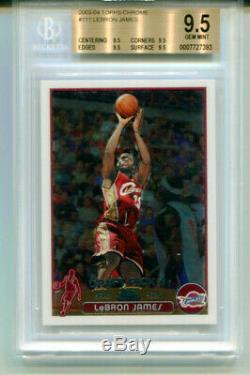 Lebron James 2003-04 Carte Topps Chrome Rookie, Rc # 111, True Gem, Menthe Bgs 9.5