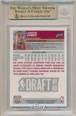 Lebron James 2003/04 Chrome # 111 Topps Rookie Refractor Sp Rc Bgs 9,5 Gem Mint