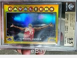 Lebron James 2008 Chrome Réfracteurs Or Topps / 50 Bgs 9,5 Gem Mint
