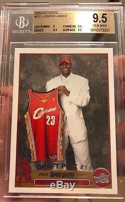 Lebron James Carte Recrue Gem Mint 2003 Topps 9,5 Bgs Lakers Beckett Rc Cavs