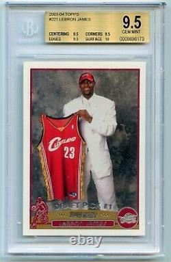 Lebron James Rc 2003-04 Topps Rookie Carte # 221 Bgs 9.5 Gem Monnaie True Gem + Lakers
