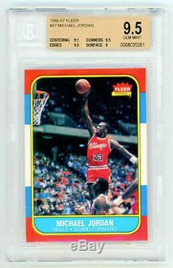 Michael Jordan 1986-1987 Fleer Basketball Rookie Card Rc Hof # 57 Bgs 9,5 Gem Mint