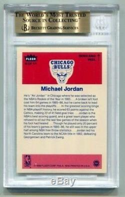 Michael Jordan 1986 Fleer Autocollant # 8 Bgs 9,5 Gem Mint Rookie Rc Deux 10 Sous-couches