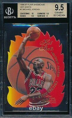 Michael Jordan 1996-97 Flair Hot Shots Bgs 9.5 Gem Mint Insert Carte # 1 Avec 10