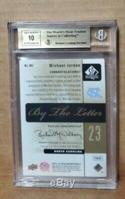 Michael Jordan Patch O Auto Bgs Quad 9.5 S Letterman Sp Gem Mint Autographe Avec 10