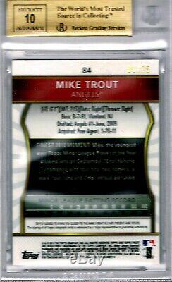 Mike Trout 2011 Belles # 84 Auto Red Réfracteurs Rc N ° 1/25 Bgs 9.5 Gem Mint Rookie