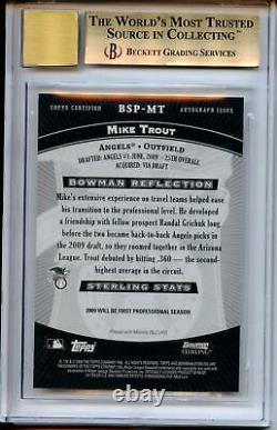 Mike Trout Rookie Auto 2009 Bowman Sterling Rc Autograph Bgs 9.5 Gem Mint Avec 10