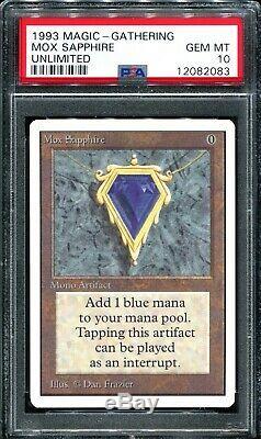 Mox Sapphire Unlimited Edition Psa 10 Gem Mint Mtg Magique P9 Bgs Rassemblement