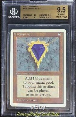 Mtg Unlimited Edition 1993 Mox Sapphire Bgs 9.5 Gem Mint Puissance Neuf P9 Meilleur Mox
