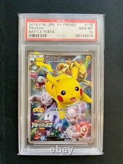 Pikachu Holo Pokemon Card Battle Festa 2015 Promo Japonaise 175/xy-p Bgs Psa 10