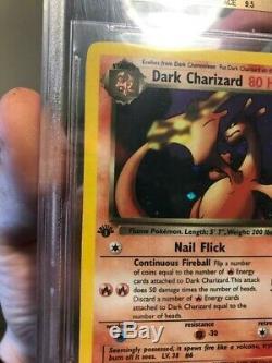 Pokemon 1ère Édition De L'équipe Rocket Foncé Charizard Holo Bgs 9,5 Gem Mint! Erreur