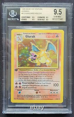 Pokemon Glurak Charizard Base Set 1. Edition Bgs9.5 Quad Gemmint Graded Deutsch