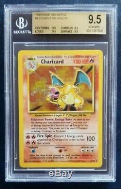 Quad 9,5 Bgs Charizard 1999 Base De Pokemon # 4/102 Rare Holo Gem Mint Psa 10