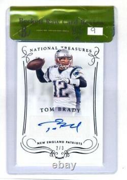 Tom Brady 2014 Panini National Treasures Autographe #2/3 Bgs 9.5 Menthe Gemme