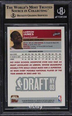 Topps 2003 Première Édition Lebron James Rookie Rc #221 Bgs 9.5 Gem Mint