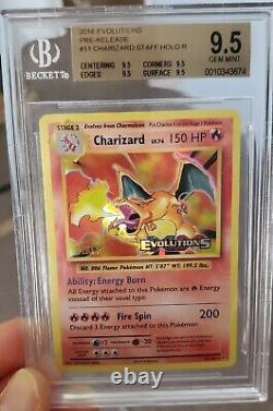 Xy Evolutions Staff Charizard Holo #11 Bgs 4x 9.5 Gem Mint Quad Similar Psa 10