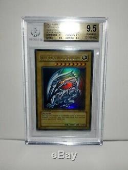 Yu-gi-oh! Bgs 9,5 Gem Mint Blue Eyes White Dragon Sdk-001 Ultra Rare 1er Psa 10