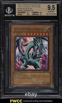 Yugioh Blue Eyes White Dragon 2002 1ère Édition Lob-001 Bgs 9.5 Gem Mint