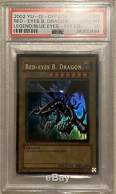 Yugioh Psa 10 Ondulés Yeux Rouges Dragon Noir 1ère Édition Gem Mint Lob-070 Bgs